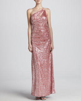Aidan Mattox One-Shoulder Metallic Gown