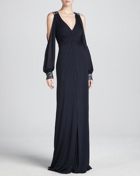 Split-Sleeves Draped Gown