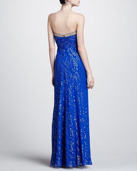 Metallic Speck Strapless Gown