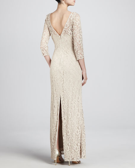 Lace 3/4-Sleeve Sheath Gown