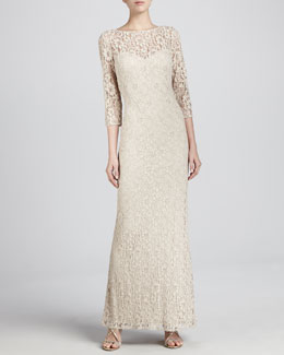 Aidan Mattox Lace 3/4-Sleeve Sheath Gown