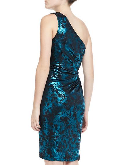 One-Shoulder Metallic Short Dress