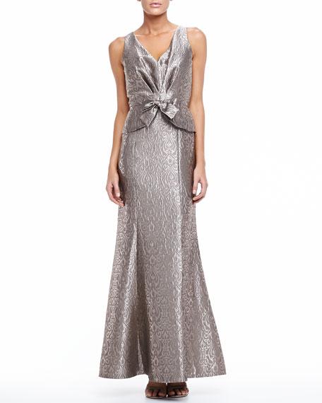 Sleeveless Long Jacquard Gown