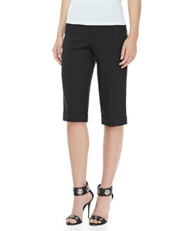 MICHAEL KORS Wool Serge Cuffed Shorts, Black