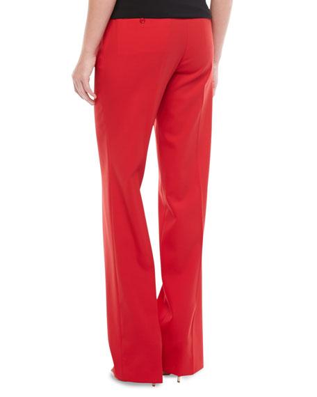 High-Waist Wool Trousers, Crimson