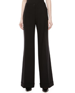 Michael Kors Wool Serge Wide-Leg Pants