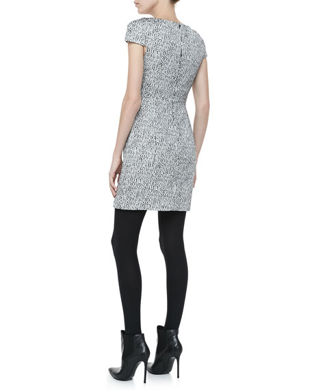 Bond Street Cap-Sleeve Tweed Dress