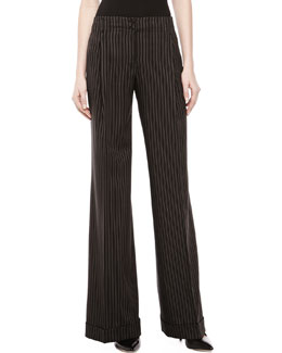 MICHAEL KORS Morning Striped Wool Wide-Leg Pants