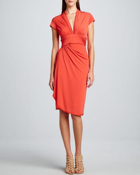 Silk Jersey Wrap Dress, Orange