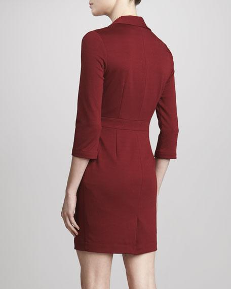 Long-Sleeve Square Dress, Bordeaux