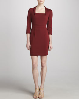 ZAC Zac Posen Long-Sleeve Square Dress, Bordeaux