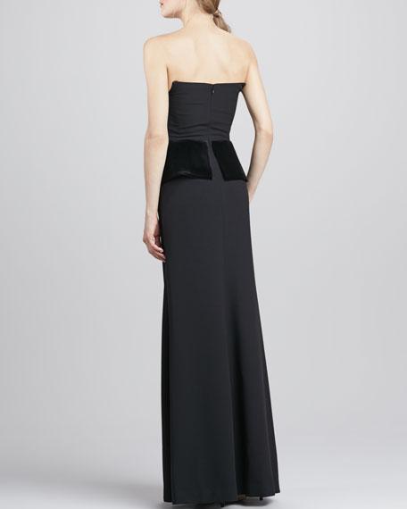 Drea Velvet-Peplum Gown