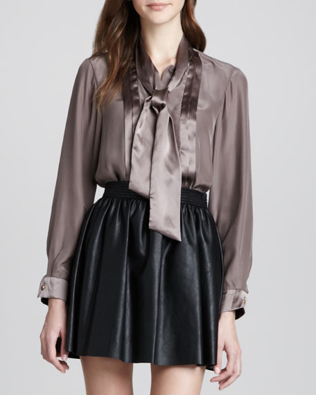 Carmen Silk Tie-Neck Blouse