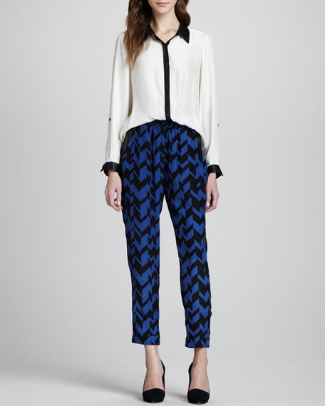 Evan Chevron-Print Silk Pants