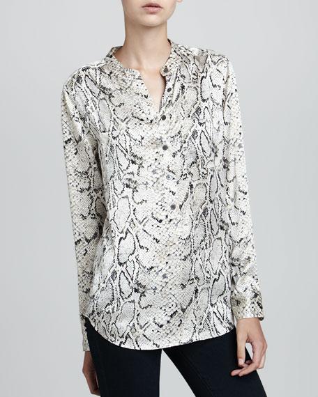 Ava Python-Print Silk Blouse