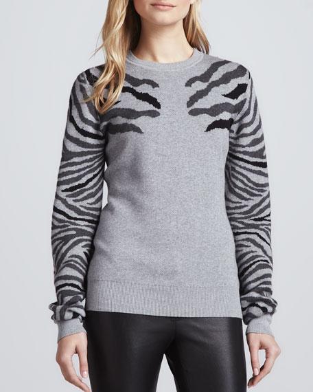 Shauna Zebra-Stripe Sweater