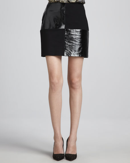 Dana Leather/Ponte Miniskirt