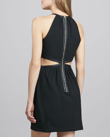Felicia Cutout-Waist Dress with Faux-Leather Trim