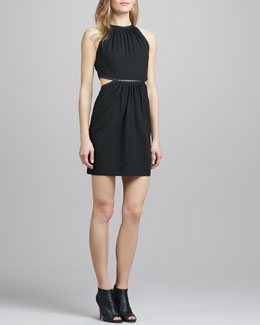 Alice & Trixie Felicia Cutout-Waist Dress with Faux-Leather Trim