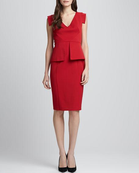 Keyton Peplum Dress, Crimson Red