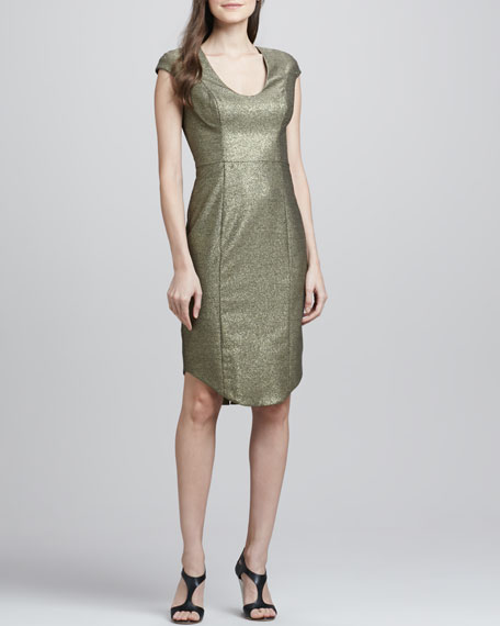 Demtrio Metallic Scoop-Neck Dress