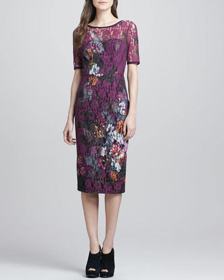 Rylyn Floral-Lace Fitted Dress
