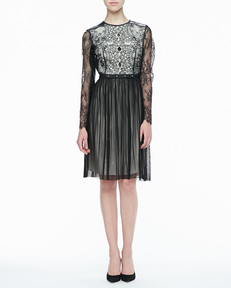 Maria Lace & Leather Cocktail Dress