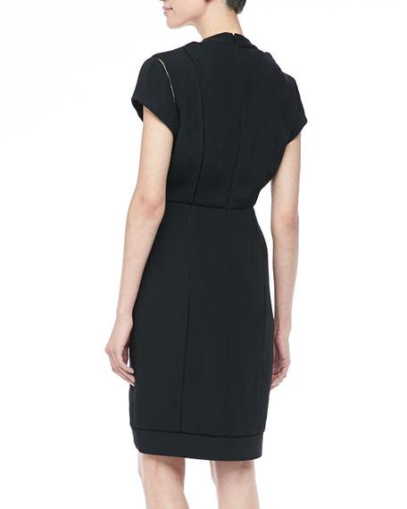 Noelle Short Combo Dress, Gunmetal/Black