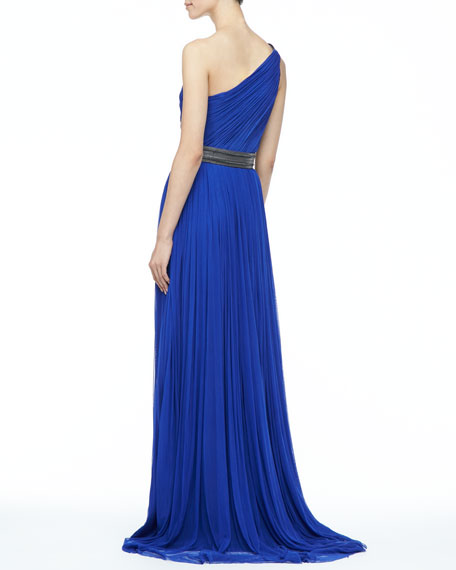 Oksana Pleated Long Gown, Cobalt