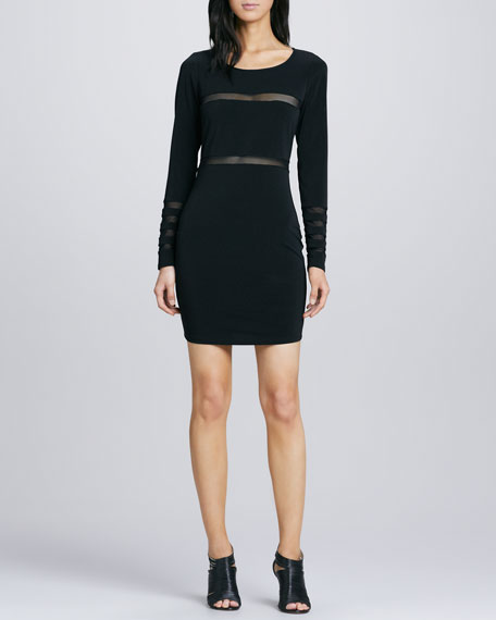 Millie Sheer-Stripe Dress