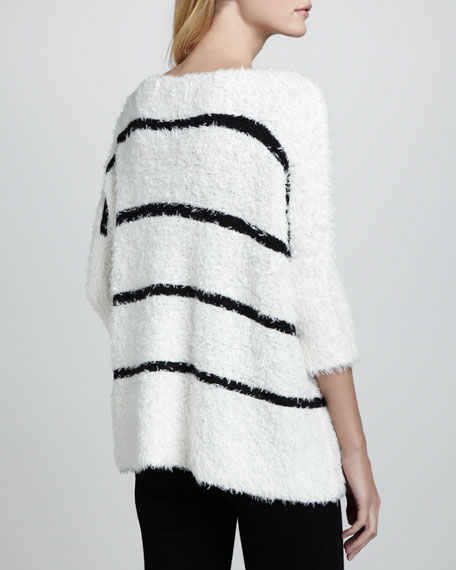Fuzzy Boxy Contrast Pullover