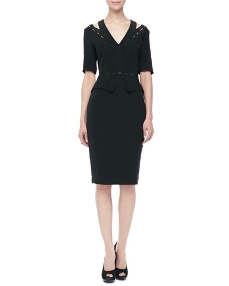 Mirage Peplum Dress, Taupe