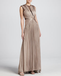 Catherine Deane Mercury Pleated Lace-Inset Gown