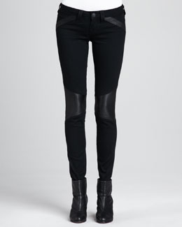 True Religion Leather-Panel Moto Skinny Jeans