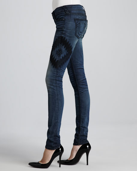Stella Faded Embroidered Tribal Skinny Jeans