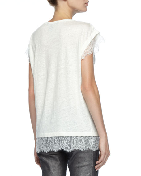 Lace-Trim Slub Tee