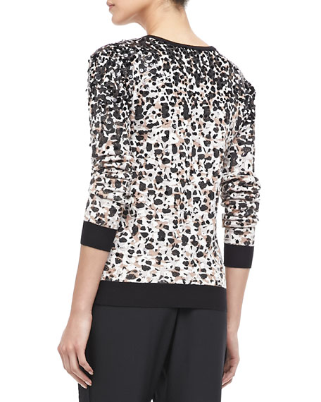 Isa Sequined Printed Sweater