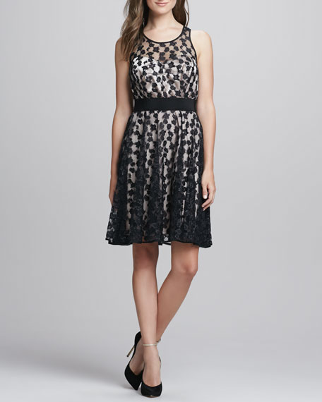 Lace-Overlay Sweetheart Dress