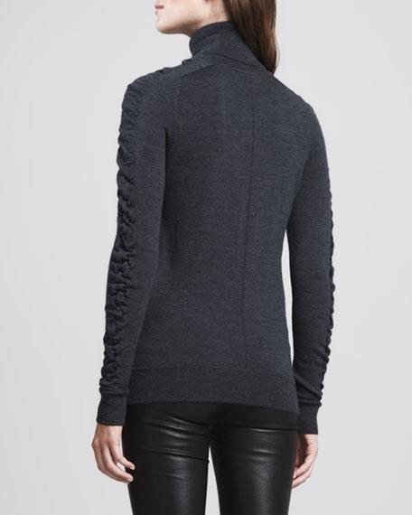 Shirred-Sleeve Wool Turtleneck