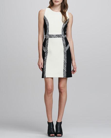 Tweed-Trim Wool Dress