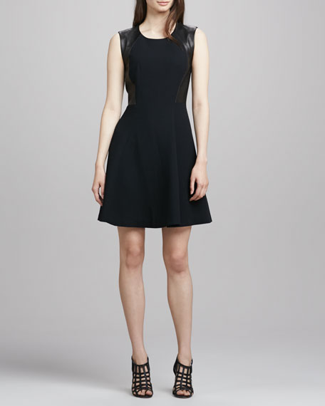 Leather-Side A-Line Dress
