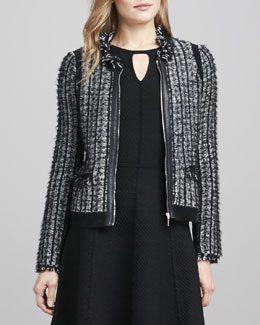 Rebecca Taylor Leather-Trim Tweed Jacket