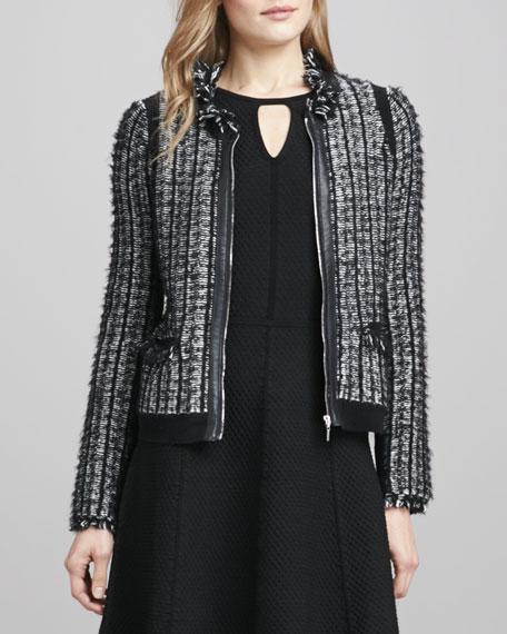 Leather-Trim Tweed Jacket