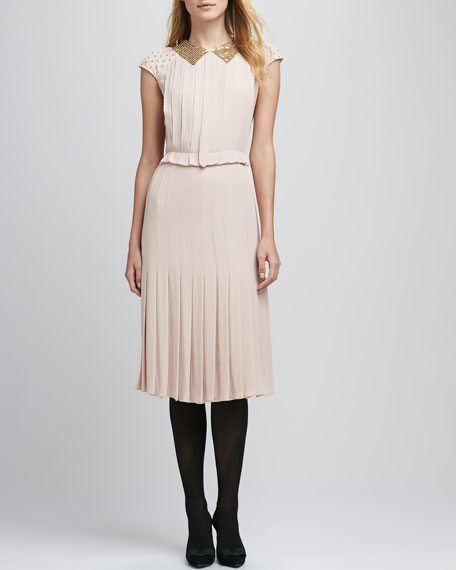 Liv Pleated Silk Dress