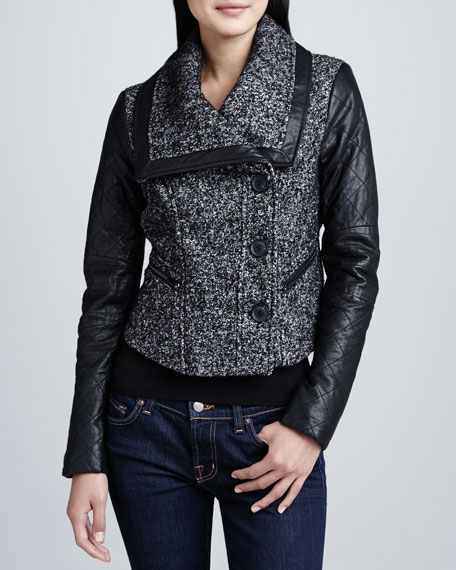 Tweed Jacket with Leather Sleeves