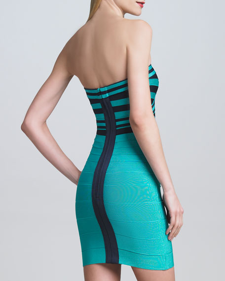 Contrast-Bodice Bandage Dress