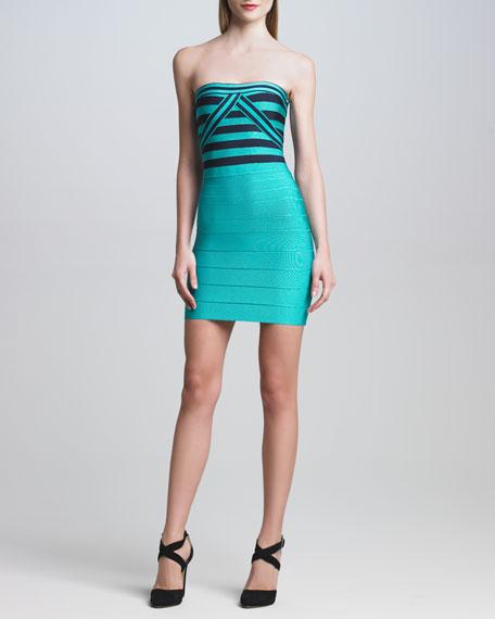 Contrast-Bodice Bandage Dress
