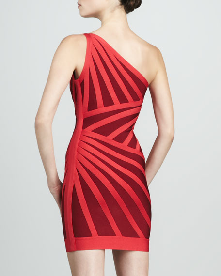 One-Shoulder Two-Tone Bandage Dress