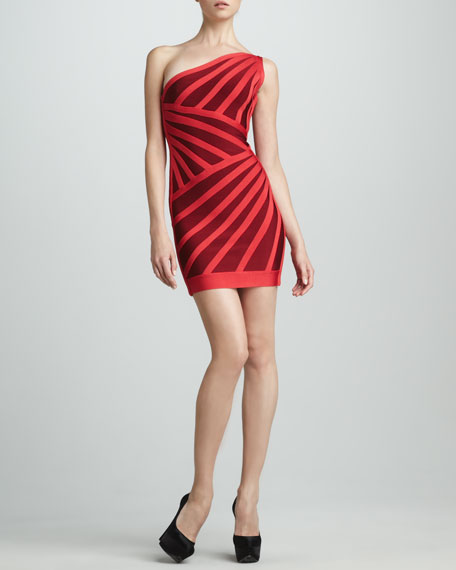 One-Shoulder Two-Tone Bandage Dress