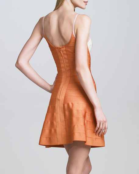Thin-Strap Colorblock Bandage Dress